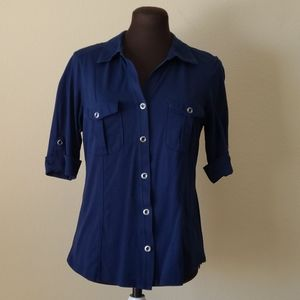 Style & Co Blue Cotton Button Front Top Size Small